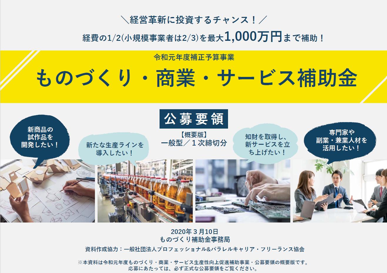 2020年「ものづくり・商業・サービス生産性向上促進補助金」公募開始 中小企業の設備投資等を支援!