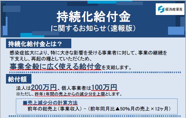 【新型コロナウイルス感染症関連】「持続化給付金」申請要領等(速報版)が発表されました